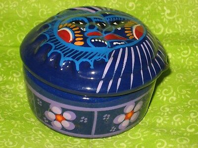 Jewelry/Trinket Box Hand Painted Eclipse Sun/Moon Mexican PotteryArt UNIQUE Gift