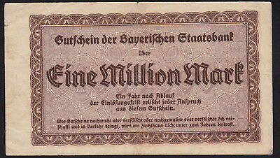 1923 1 Million Mark Munich German State Bavaria Vintage Emergency Money Old Note