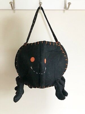 Pottery Barn Kids PBK Black Spider Halloween Felt Treat Bag/Bucket Unisex EUC