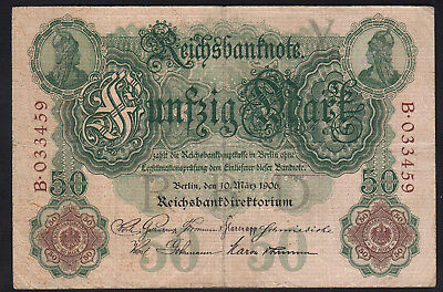1906 50 Mark Germany rare vintage paper money banknote old currency antique bill