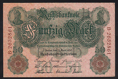 1910 50 Mark VF Germany Vintage Antique Rare Bill Paper Money Banknote Currency