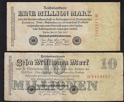 1923 Germany 1 10 Million Mark Lot 2 Vintage Old Banknotes Paper Money Currency
