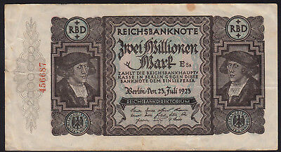 1923 Germany 2 Million Mark Very Rare Vintage Banknote Money Bill Note Currency
