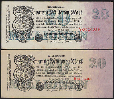 1923 Germany 20 Million Mark Lot 4 Vintage Old Banknotes Paper Money Currency