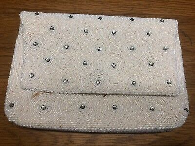 Vintage Bag by Josef Hand Beaded In Belgium Navy Cream Studded Clutch Purse