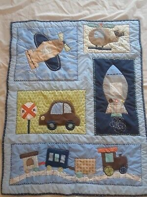Circo Baby Crib Bumper & blanket, Blue & tan, Airplane, car, helicopter & Stars