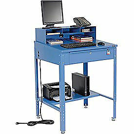 """Shop Desk 34-1/2""""W x 30""""D x 38 to 42-1/2""""H With Pigeonhole Compartments, Lot of"""