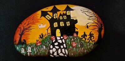 Halloween, Hand Painted, River Rock, Stone, Art, Acrylic, Paper weight, Gift,