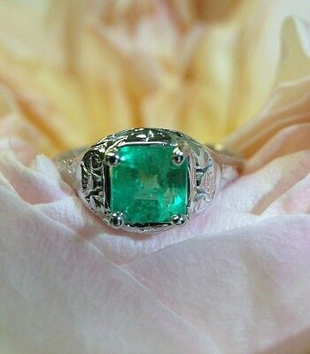 Art Deco 14K White Gold Shimmering Colombian Emerald Engagement Ring Size 5.25
