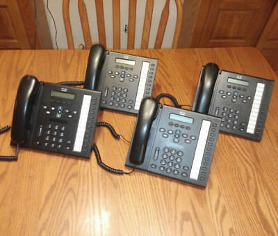 Lot of (4) Cisco 6961 CP-6961 IP Phone w/ Handset, Cord & Stand Grade A - Tested