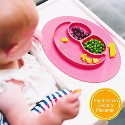 pink Happy Mat silicone plate stable bowl Toddler infant kids baby Dishes