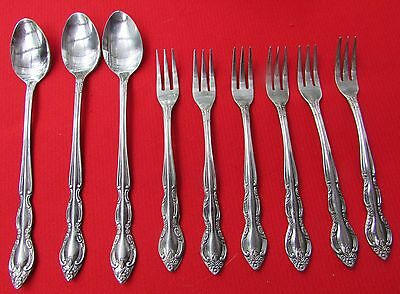 Fleurette Twin Floral Pattern Lot of 9 Pcs By Imperial International Stainless