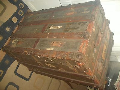 Antique H & F Co.Trunk Chest - Rare  Piece of Americana complete with..