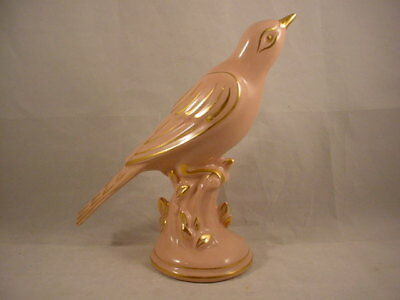 "Vintage 1940's Pastel Pink Pottery Bird With Gold Assents 9 1/4"" Long"