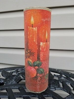 Vtg Christmas Sugar Frosted Pillar Candle Red Burning Candles Fruit