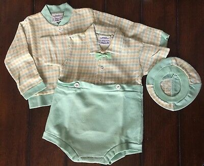 VTG Princess Pat BABY boy OUTFIT sz MEDIUM one piece suit/jacket/hat 13-20 lb