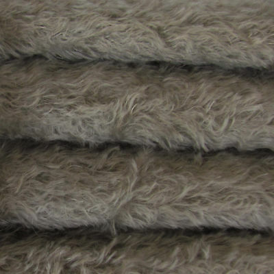 "1/6 yd 325S/C Pewter INTERCAL 5/8"" Semi-Sparse Curly German Mohair Fur Fabric"
