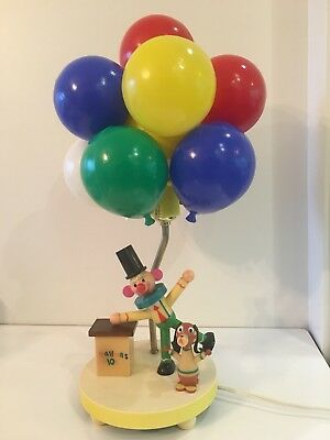 Vtg Dolly Toy Co. Clown Lamp Balloon Dog Circus Multi Colored