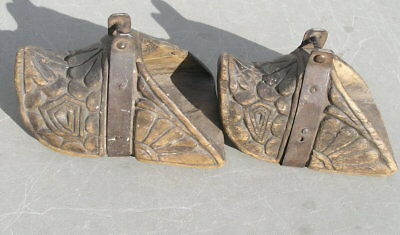 Pair Antique 17th 18th Century Wood and Iron Spanish Colonial Saddle Stirrups