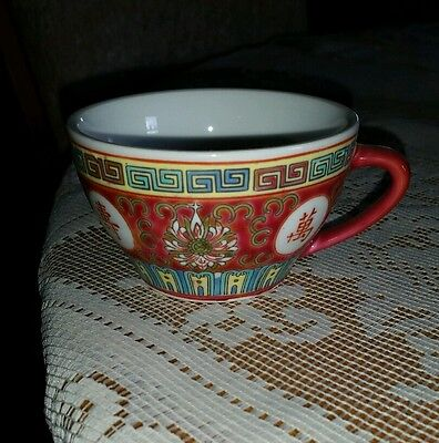 """Traditional Chinese Red Tea Cup 3 1/4"""" wide 2"""" deep Famille Rose"""