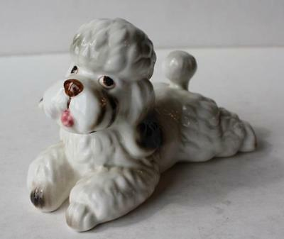 White French Poodle Dog Figurine-Statue Porcelain-Lying Down-Adorable-Vintage
