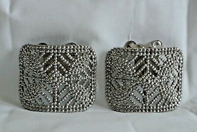 Antique Victorian French Cut Steel Pair Signed Shoe Buckles Complete Orig Clips