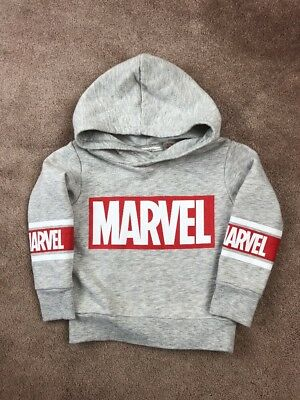 H&M Marvel Hoodie Red/White/Grey Toddler Boys Size 1 1/2-2Y