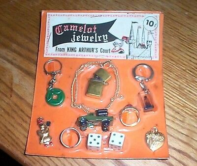 Vintage display card 10c charms and toys and rings [lighter] FREE SHIPPING #z6