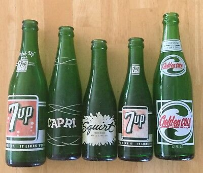 VINTAGE GREEN SODA BOTTLES, 7-UP, CAPRI, SQUIRT, GOLDEN COLA   pop