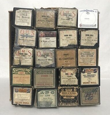 Lot of 20 Misc Vintage Player Piano Music Rolls QRS, Piano Style, Imperial& More