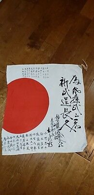 WW2 Vintage Original Japanese Silk Flag MILITARY navy  kanji collectible