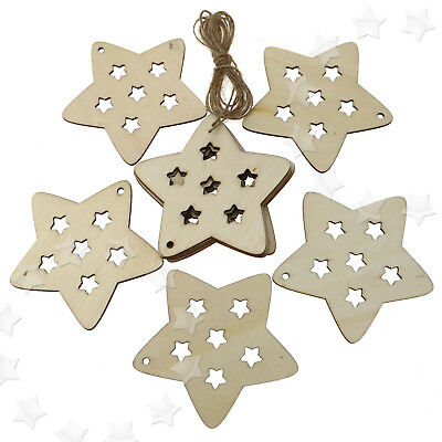 10 pcs Wooden Christmas Xmas Tree Hanger Accessories Gift  Star