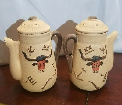 Vintage Pottery Style Salt & Pepper Shakers Kettle  Arizona Southwest Decor