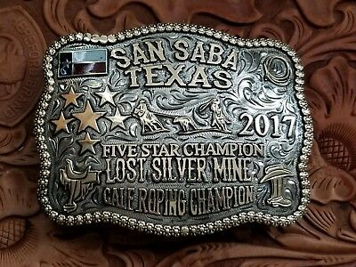 2017 SAN SABA TEXAS TEAM ROPER CHAMP TROPHY Rodeo Buckle Hand Engrave Signed 457