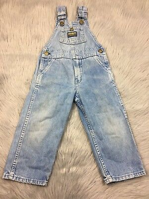 Vtg Oshkosh Bgosh Union Made Light Denim Overalls Super Worn