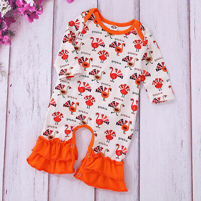USSTOCK Newborn Baby Girl Boy Turkey Romper Jumpsuit Outfit Clothes Thanksgiving