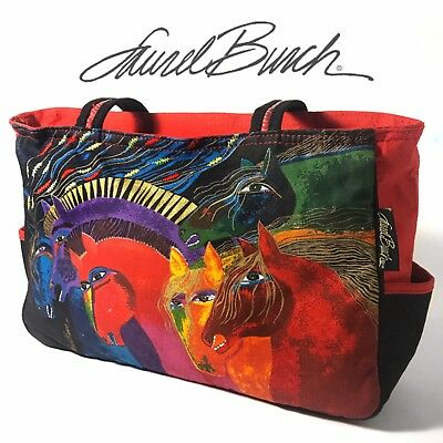 Laurel Burch Wild Horses Of Fire Canvas Travel Tote Bag Purse Artist Equestrian