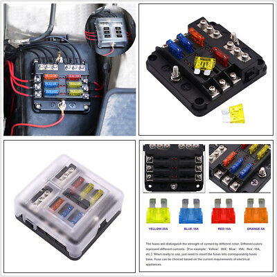 8 WAY CIRCUIT Standard Blade Fuse Box Holder Block Car Truck