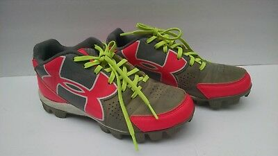 Under Armour Girls Youth Softball Athletic Shoes Size 4 US 36 EU Pink Gray