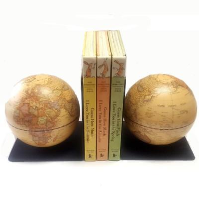 GORGEOUS Magnetic Bookends Antique Style World Educational Globe Gift 13 cm