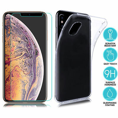 Clear Case Cover & Tempered Glass Screen Protector For iPhone XS / XS Max / XR