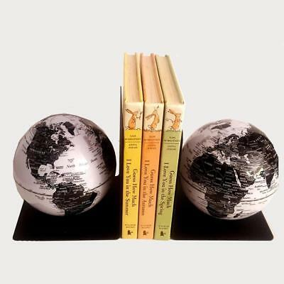 BEAUTIFUL Magnetic Bookends Black & White World Educational Globe Gift 13 cm