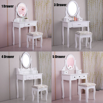 Dressing Table Makeup Vanity Set Makeup Desk with Stool Mirror Bedroom White
