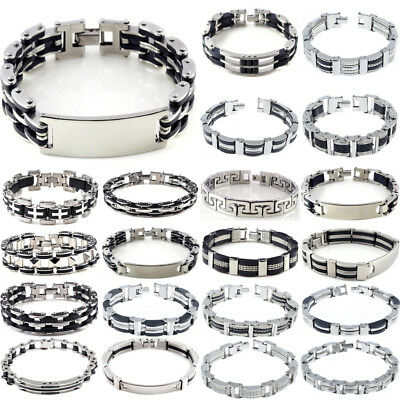 Mens Black Silver Stainless Steel Bracelet Bangle Wristband Hand Chain Jewelry