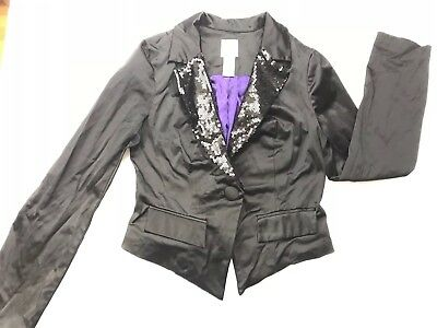 Womens Candies Medium Long Sleeve Jacket Black With Sequence Details On Lapels