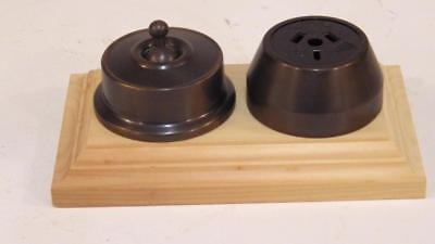 federation antique brass power point,outlet,switch socket on pine wood block