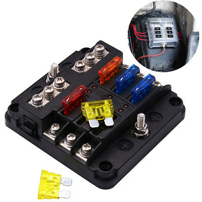 Waterproof 6-way Blade Fuse Box Holder 12V/24V Car Truck Marine Boat Bus RV Van