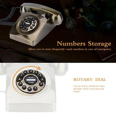 Vintage Antique Telephone Retro Rotary Dial Desk Numbers Storage Corded Phone