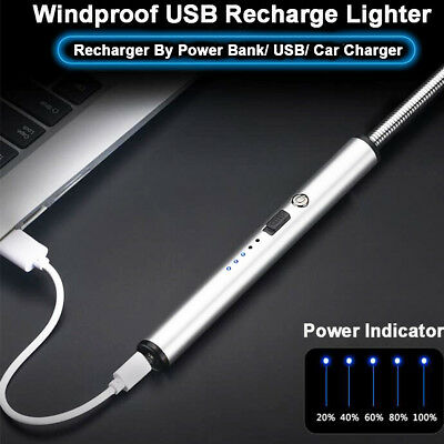 Men USB Lighter Electronic Pulsed Arc BBQ Candle Rechargeable Windproof+Gift Box