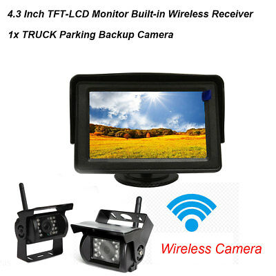 "Wireless IR Rear View Backup Camera Night Vision + 4.3"" Monitor For RV Truck Bus"